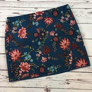 LOFT Ann Taylor floral mini skirt polyester 16